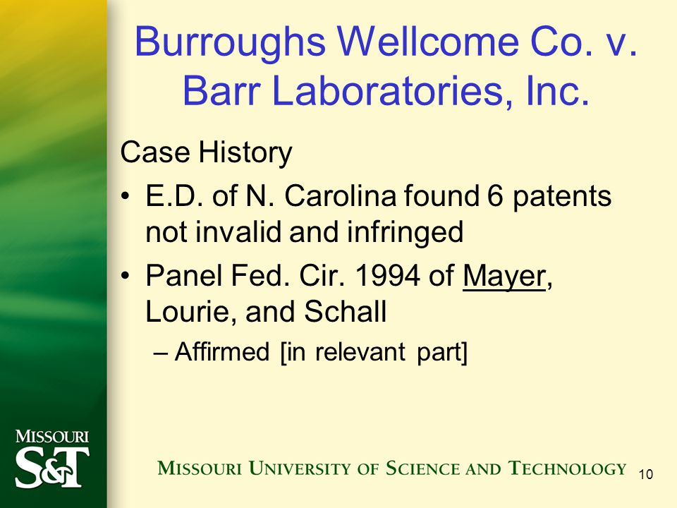Burroughs Wellcome Co. v. Barr Laboratories, Inc.