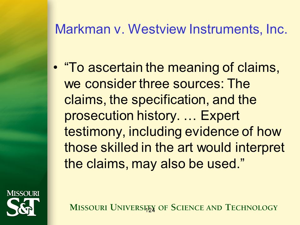 124 Markman v. Westview Instruments, Inc.