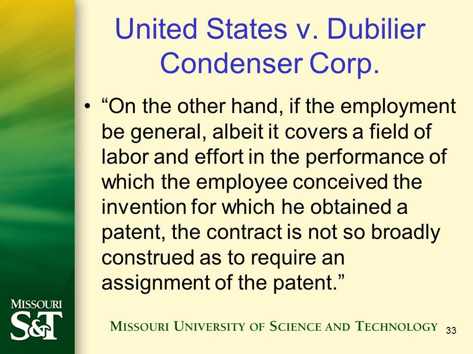 United States v. Dubilier Condenser Corp.