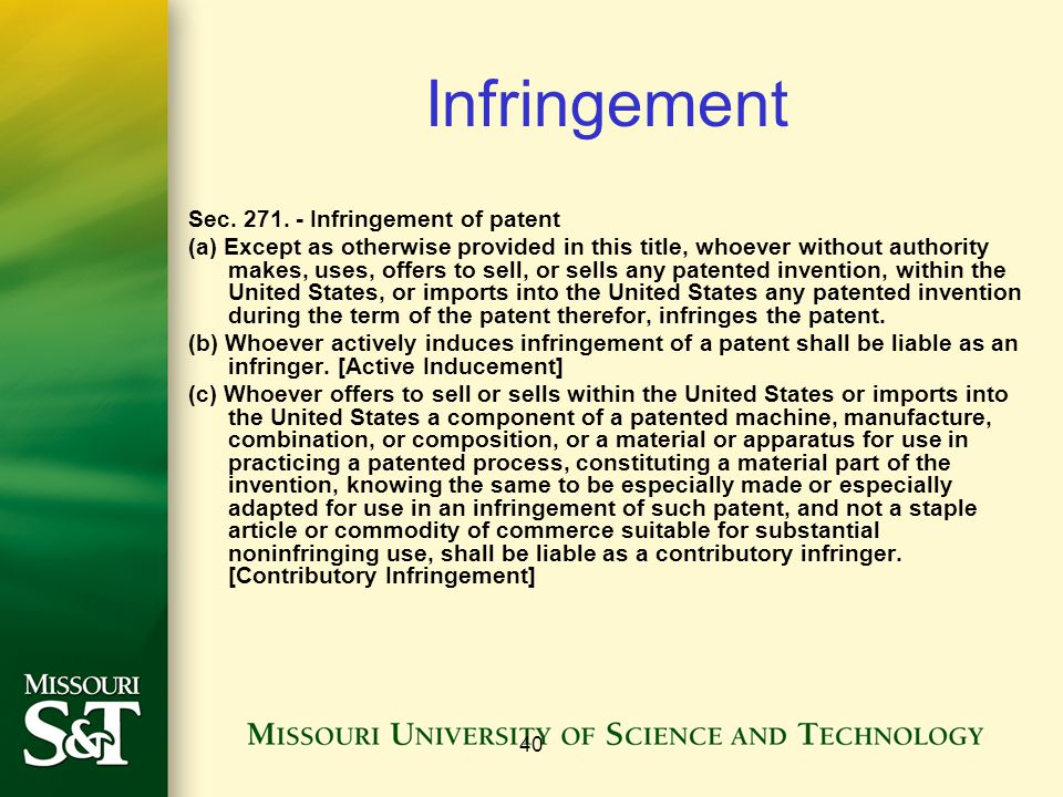 40 Infringement Sec. 271.