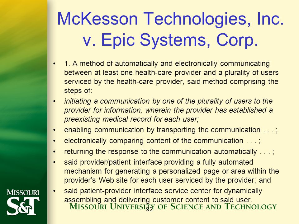 McKesson Technologies, Inc. v. Epic Systems, Corp.