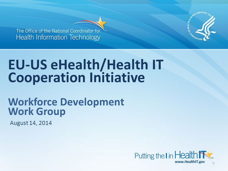 0 EU-US eHealth/Health IT Cooperation Initiative Workforce Development Work Group August 14, 2014
