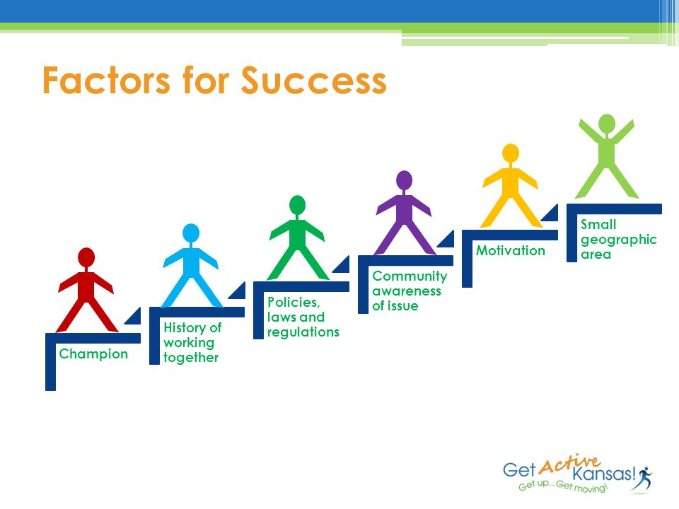 Factors for Success Champion History of working together Policies, laws and regulations Community awareness of issue Motivation Small geographic area
