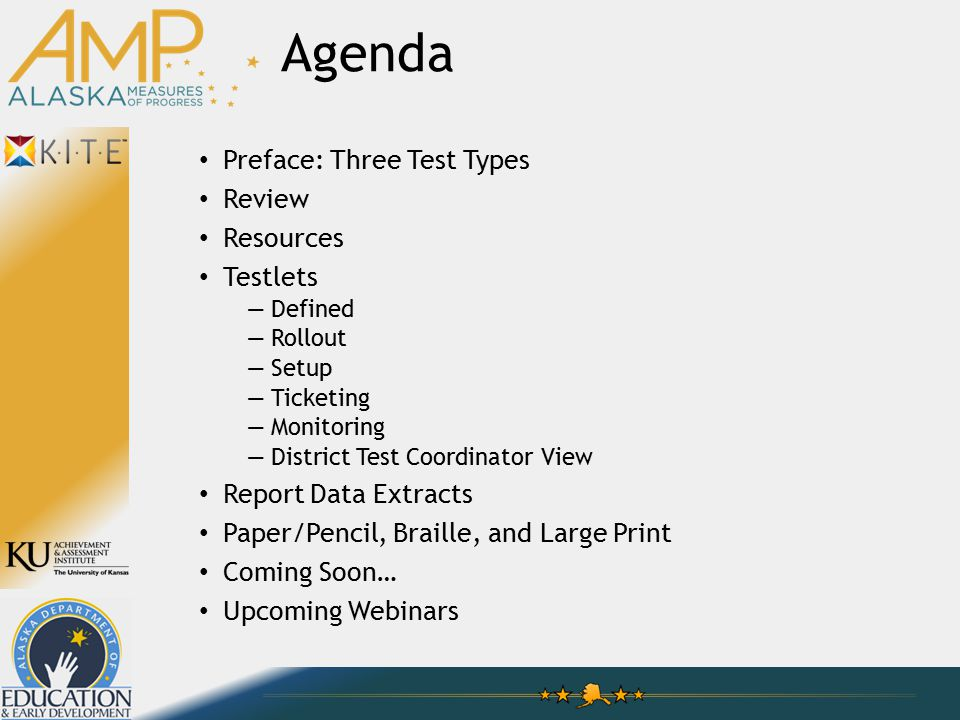 Technology Practice Tests —Generated by AMP (for all to access) —Currently available Testlets —Generated by teachers (for rostered students) —Expected January, 2015 Summative —Generated by the system (for TEST records) —March, 2015 Preface: Three Test Types
