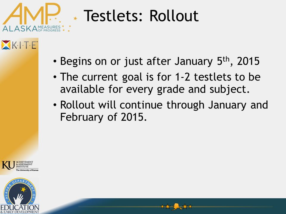 Testlets: Rollout Begins on or just after January 5 th, 2015 The current goal is for 1-2 testlets to be available for every grade and subject.
