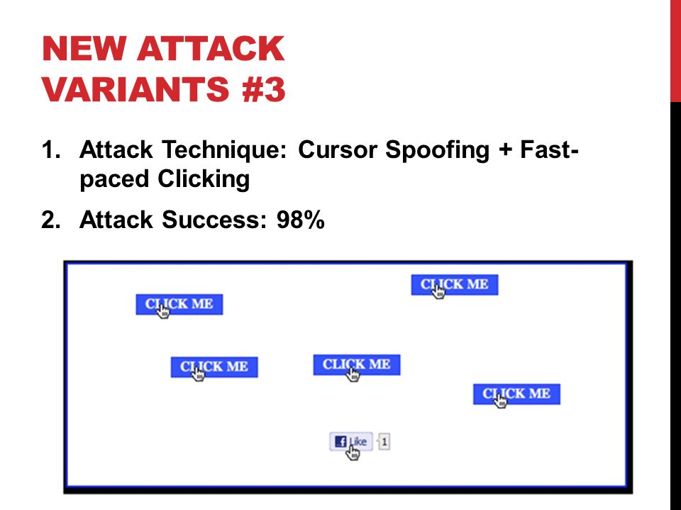 NEW ATTACK VARIANTS #3 1.Attack Technique: Cursor Spoofing + Fast- paced Clicking 2.Attack Success: 98%