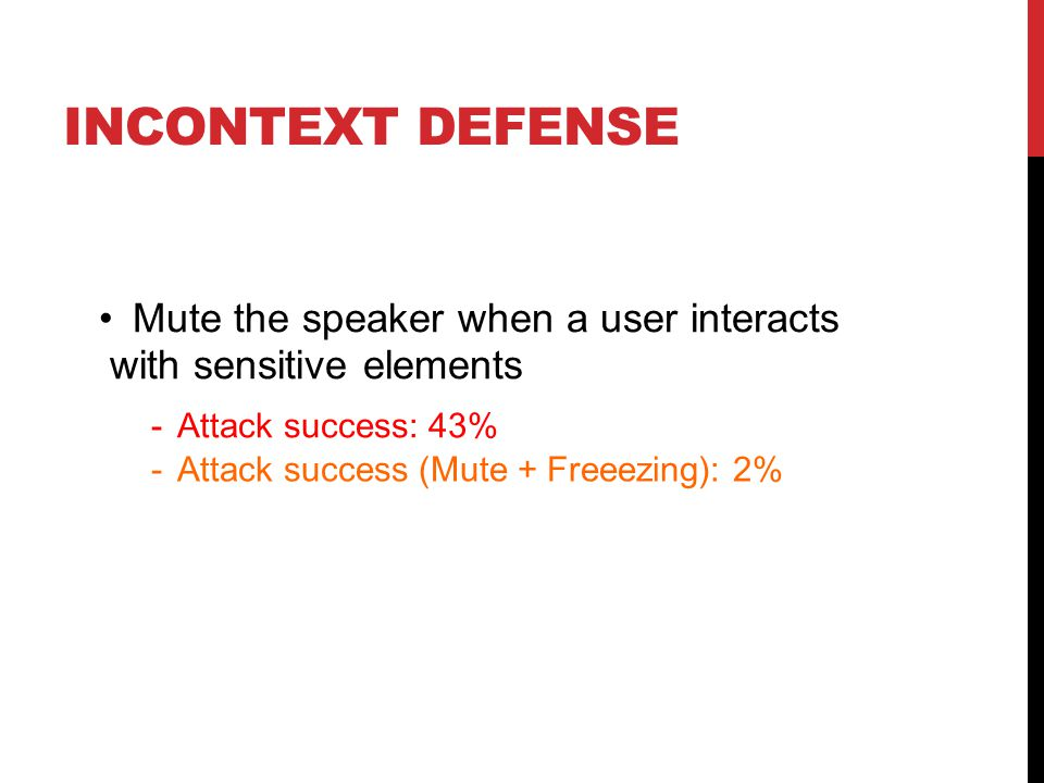 INCONTEXT DEFENSE Mute the speaker when a user interacts with sensitive elements - Attack success: 43% - Attack success (Mute + Freeezing): 2%