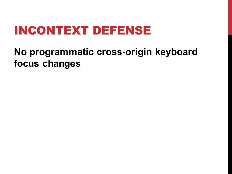 INCONTEXT DEFENSE No programmatic cross-origin keyboard focus changes