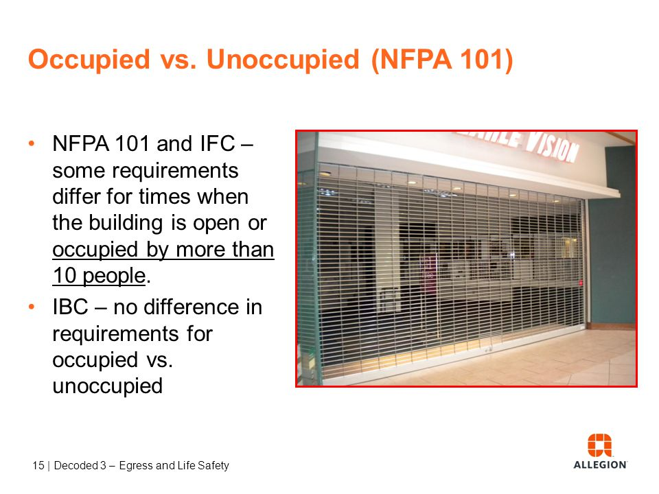 "14 | Decoded 3 – Egress and Life Safety Question According to NFPA 101, when is a building considered ""occupied""? Type in the chat box."
