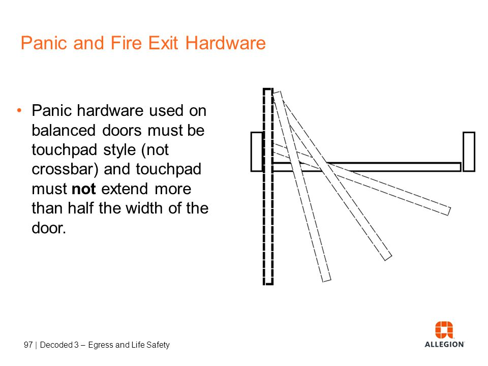 96 | Decoded 3 – Egress and Life Safety Panic and Fire Exit Hardware Panic hardware used on balanced doors must be touchpad style (not crossbar) and t