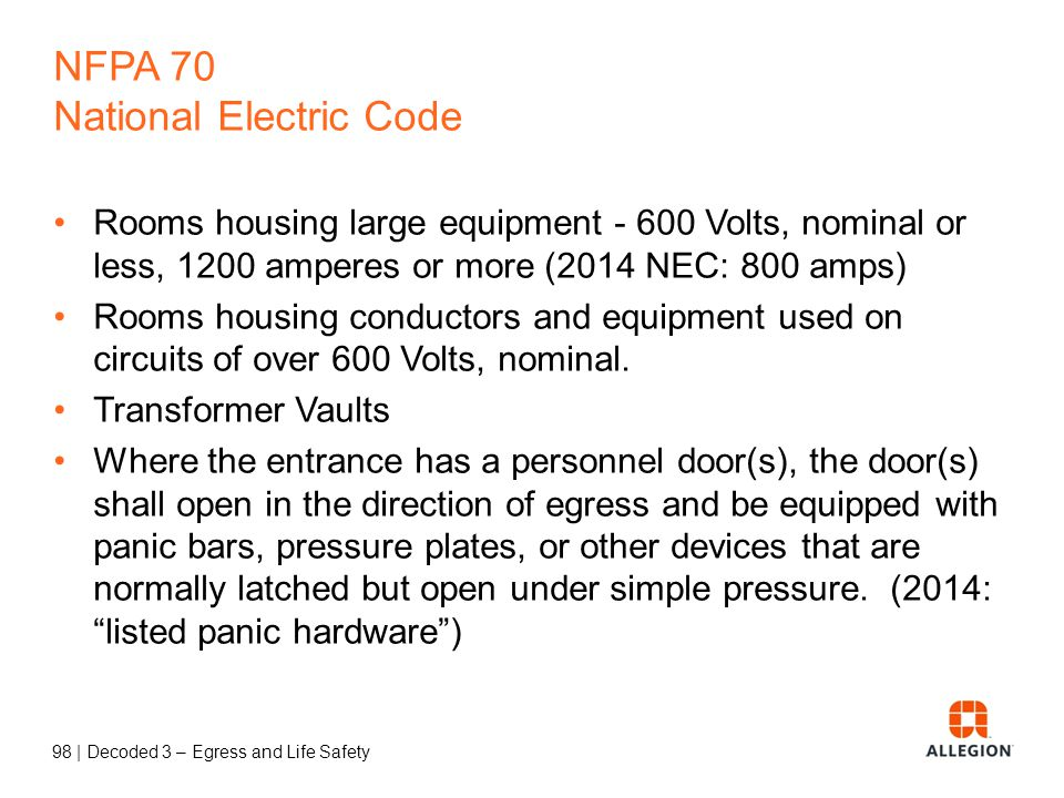 97 | Decoded 3 – Egress and Life Safety Panic and Fire Exit Hardware Panic hardware used on balanced doors must be touchpad style (not crossbar) and t