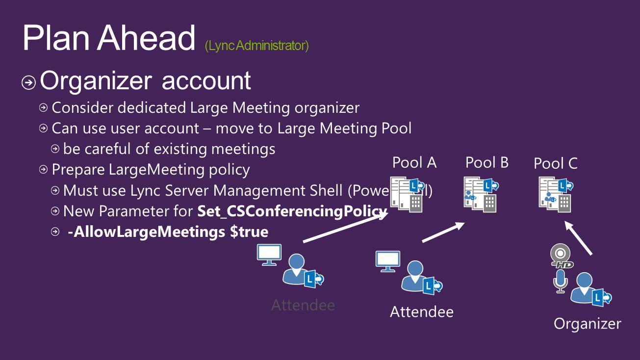 Pool C Pool BPool A Organizer Attendee