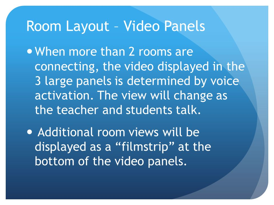 Room Layout – Presentation Panels The 2 large screens at the sides of the video panels and the 1 below the video panel display the teacher's computer screen or document camera.