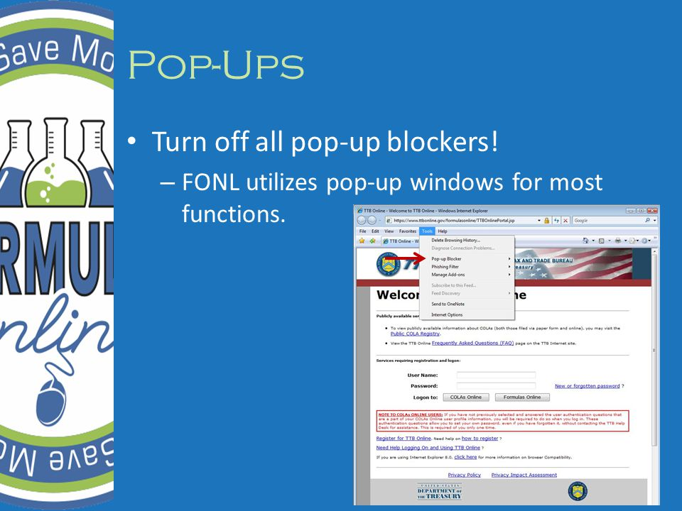 Pop-Ups Turn off all pop-up blockers! – FONL utilizes pop-up windows for most functions.