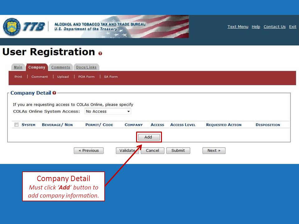 Company Detail Must click 'Add' button to add company information.