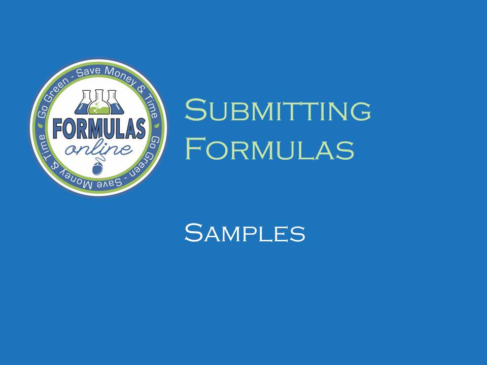 Submitting Formulas Samples