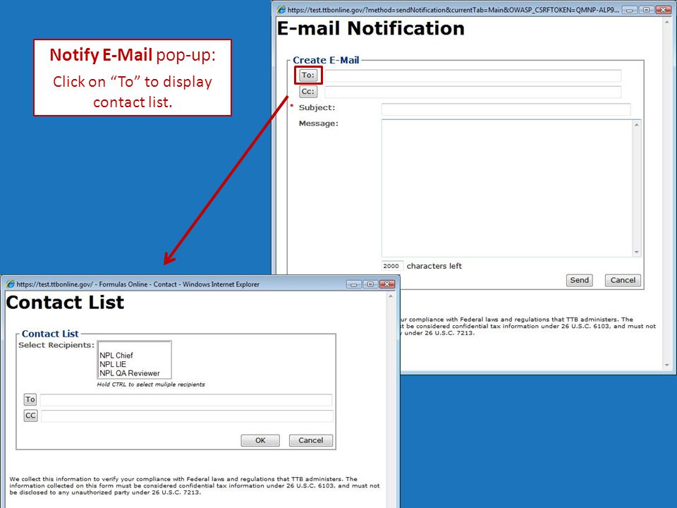 Notify E-Mail pop-up: Click on To to display contact list.