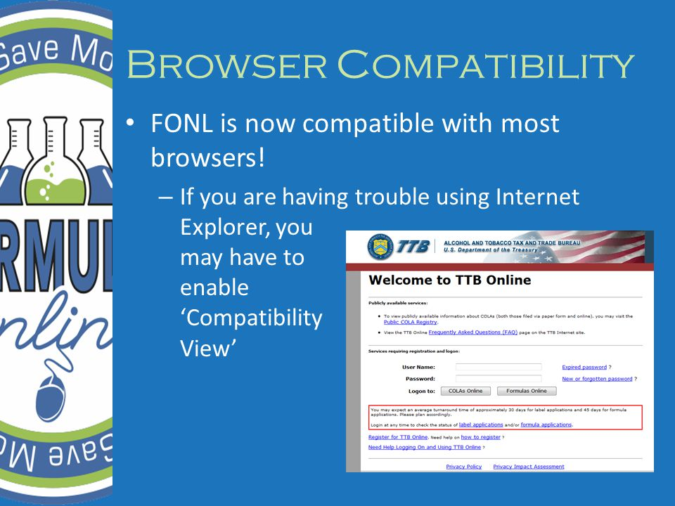 Browser Compatibility FONL is now compatible with most browsers.
