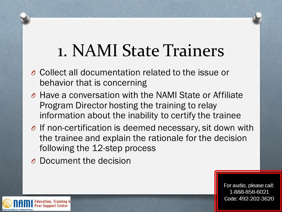 1. NAMI State Trainers O Collect all documentation related to the issue or behavior that is concerning O Have a conversation with the NAMI State or Af