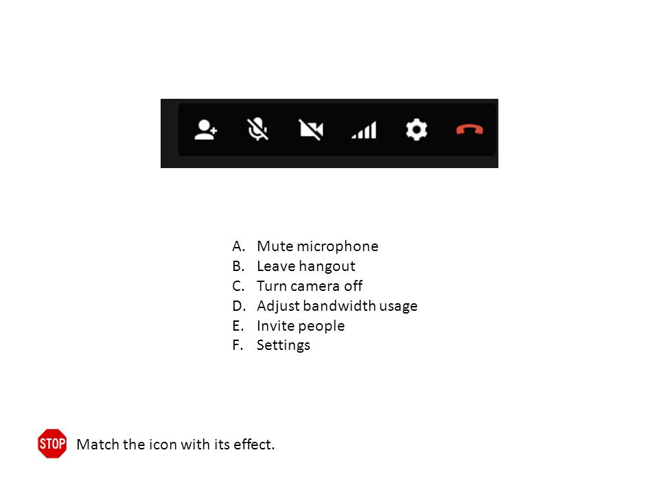 A.Mute microphone B.Leave hangout C.Turn camera off D.Adjust bandwidth usage E.Invite people F.Settings Match the icon with its effect.