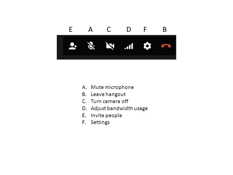 A.Mute microphone B.Leave hangout C.Turn camera off D.Adjust bandwidth usage E.Invite people F.Settings E A C D F B