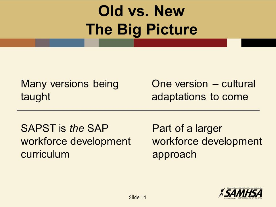 Old vs. New The Big Picture Many versions being taught One version – cultural adaptations to come SAPST is the SAP workforce development curriculum Pa