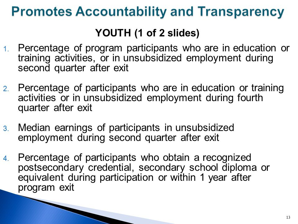 YOUTH (1 of 2 slides) 1. Percentage of program participants who are in education or training activities, or in unsubsidized employment during second q