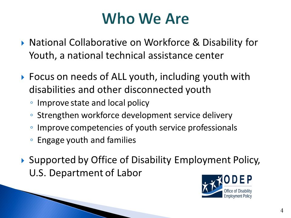  National Collaborative on Workforce & Disability for Youth, a national technical assistance center  Focus on needs of ALL youth, including youth wi