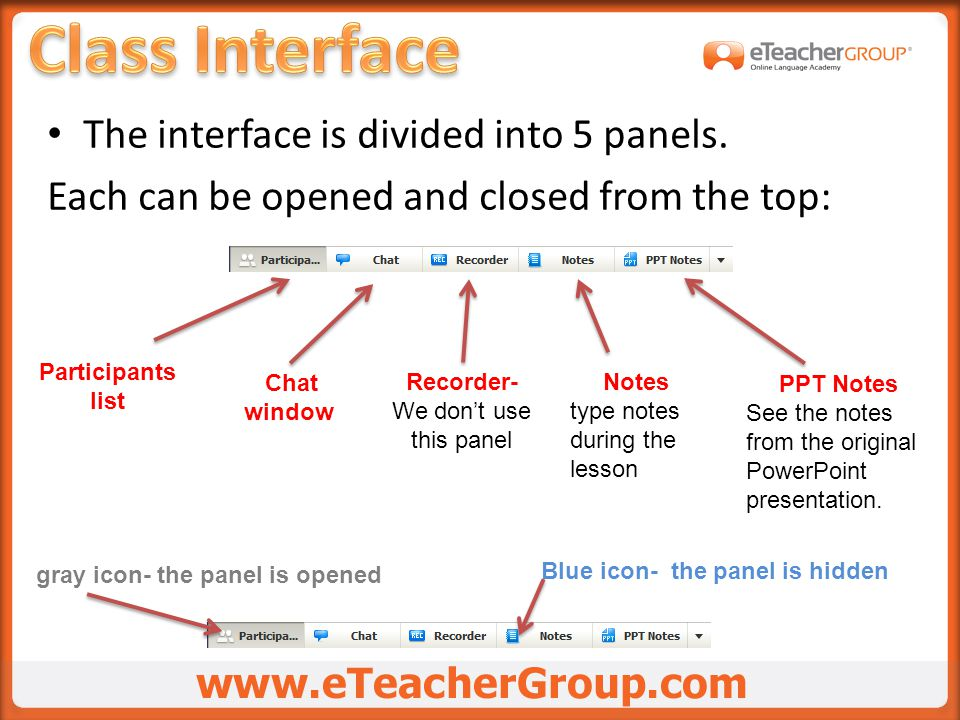 The interface is divided into 5 panels.