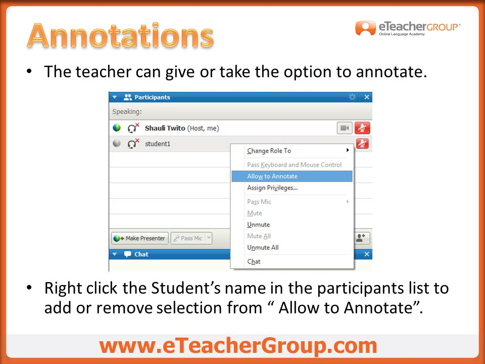 The teacher can give or take the option to annotate.