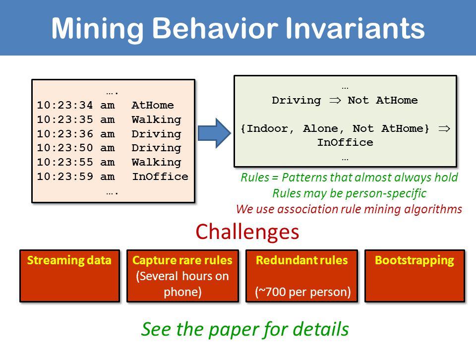 Mining Behavior Invariants …. 10:23:34 amAtHome 10:23:35 amWalking 10:23:36 amDriving 10:23:50 amDriving 10:23:55 amWalking 10:23:59 amInOffice …. 10: