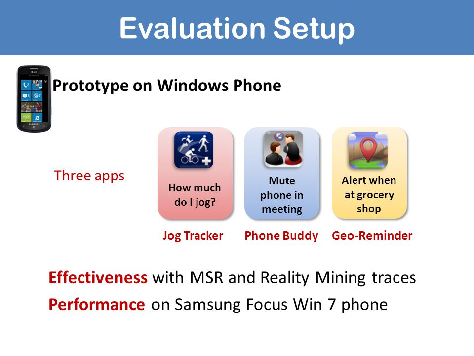 Evaluation Setup Effectiveness with MSR and Reality Mining traces Performance on Samsung Focus Win 7 phone How much do I jog? Alert when at grocery sh