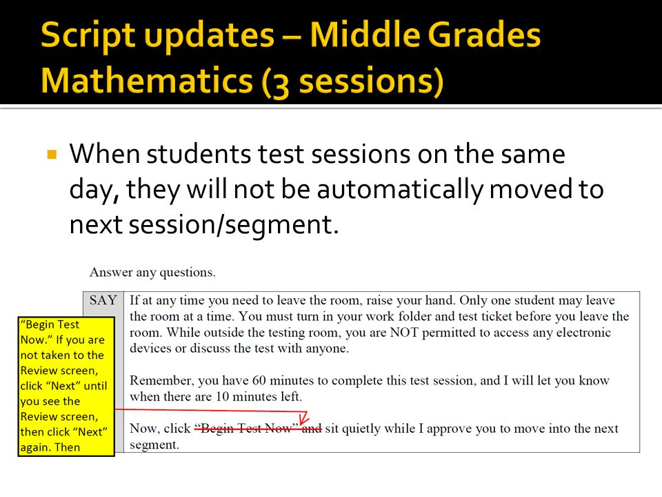 End Test button  Will appear after student views last question in last session/segment  Will take student to the Review screen for that session/segment  Student can review responses (including unanswered and flagged) before selecting Submit