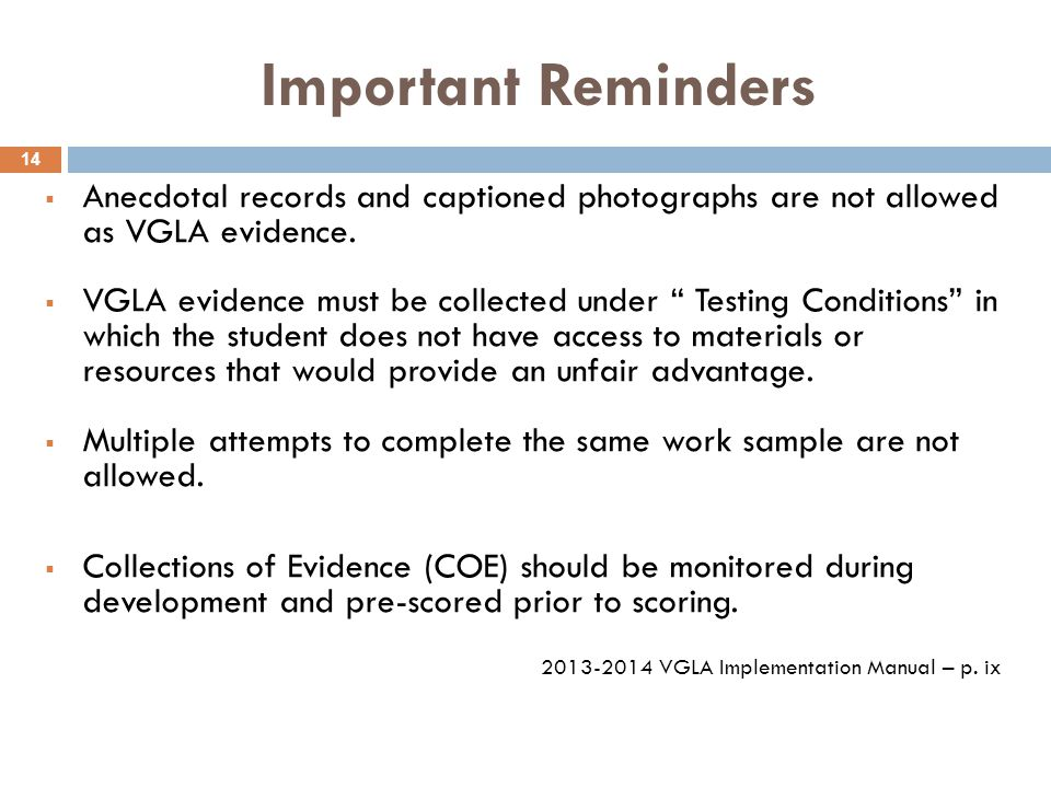Important Reminders  Anecdotal records and captioned photographs are not allowed as VGLA evidence.