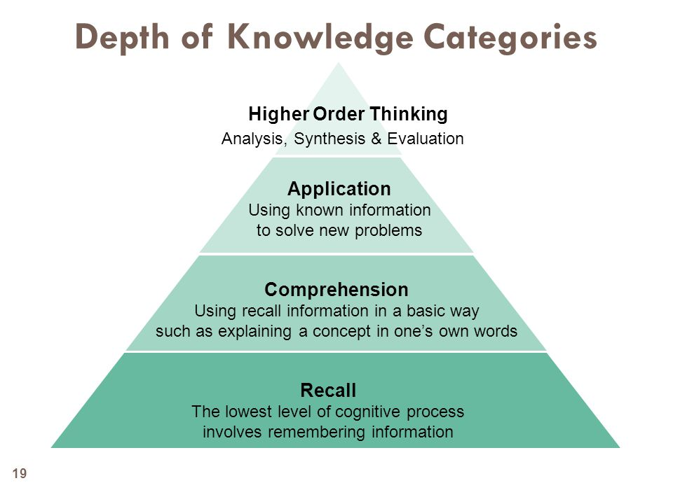 Depth of Knowledge Categories Higher Order Thinking Analysis, Synthesis & Evaluation Application Using known information to solve new problems Comprehension Using recall information in a basic way such as explaining a concept in one's own words Recall The lowest level of cognitive process involves remembering information 19