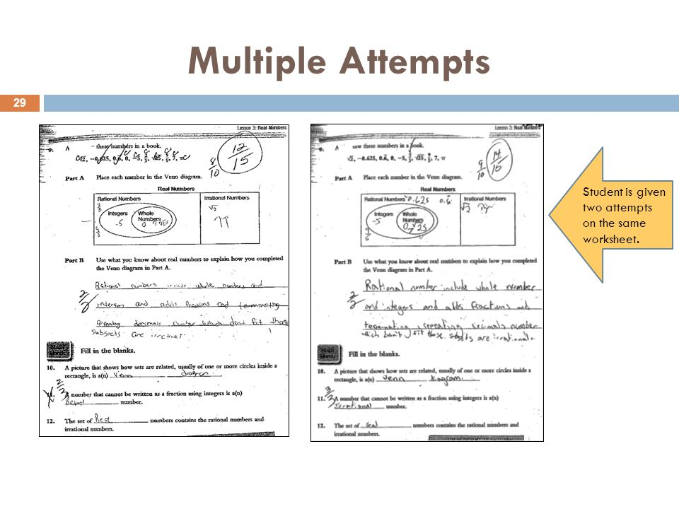 Multiple Attempts Student is given two attempts on the same worksheet. 29