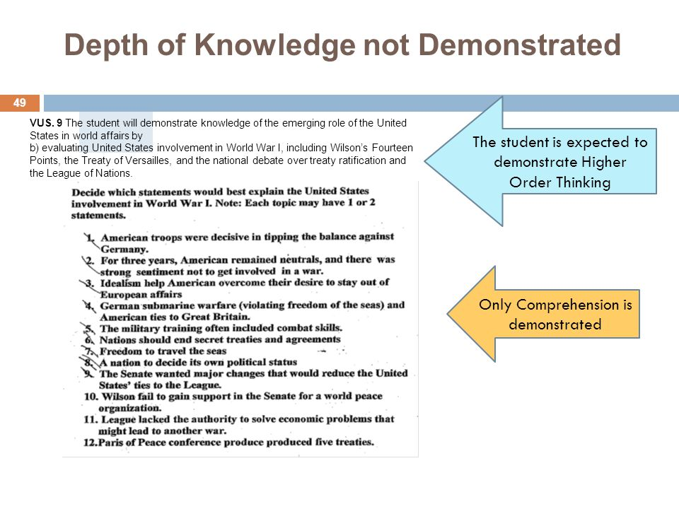 Depth of Knowledge not Demonstrated The student is expected to demonstrate Higher Order Thinking Only Comprehension is demonstrated 49 VUS.