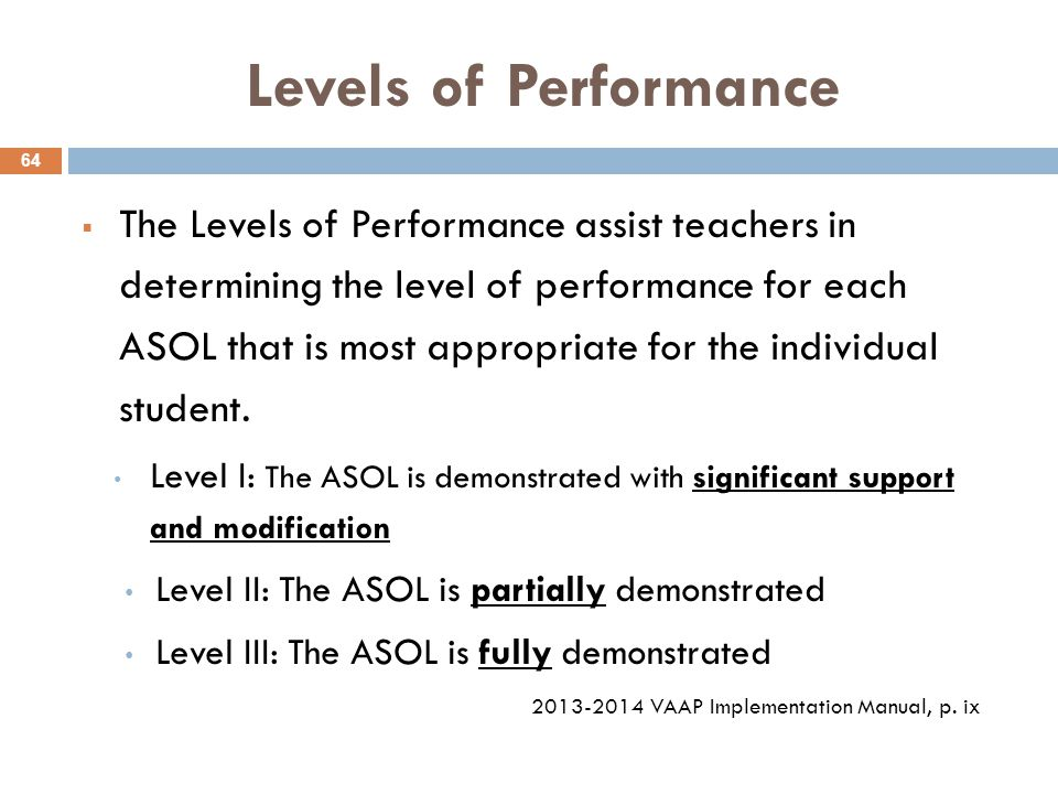 Levels of Performance  The Levels of Performance assist teachers in determining the level of performance for each ASOL that is most appropriate for the individual student.