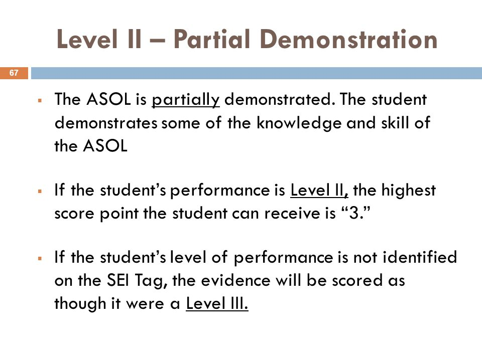 Level II – Partial Demonstration  The ASOL is partially demonstrated.