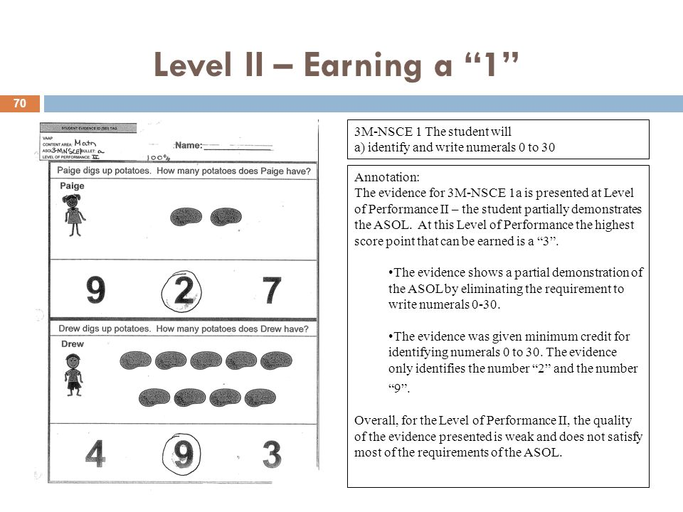 Level II – Earning a 1 3M-NSCE 1 The student will a) identify and write numerals 0 to 30 Annotation: The evidence for 3M-NSCE 1a is presented at Level of Performance II – the student partially demonstrates the ASOL.
