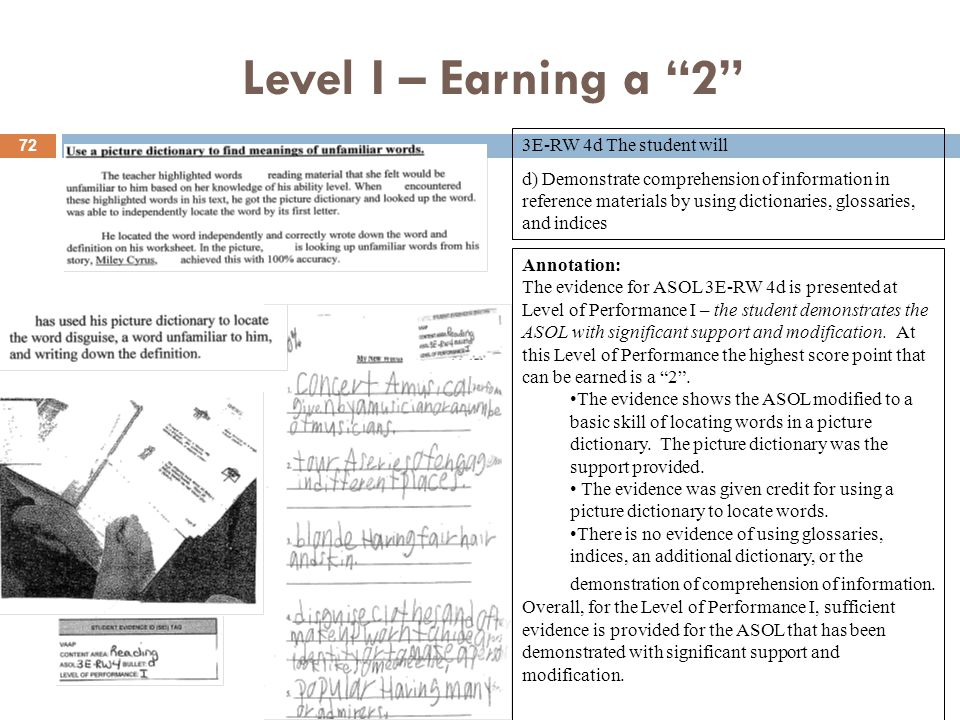Level I – Earning a 2 Annotation: The evidence for ASOL 3E-RW 4d is presented at Level of Performance I – the student demonstrates the ASOL with significant support and modification.