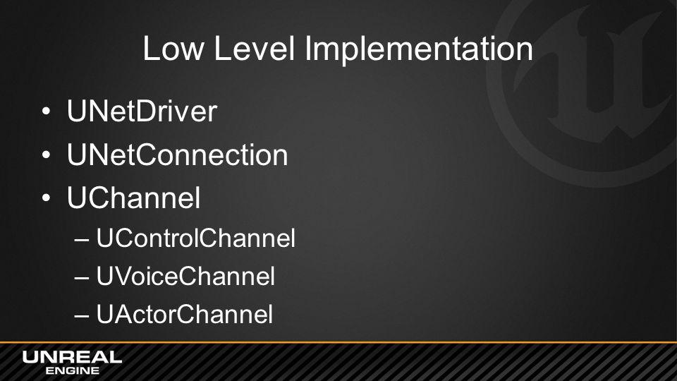 Low Level Implementation UNetDriver UNetConnection UChannel –UControlChannel –UVoiceChannel –UActorChannel