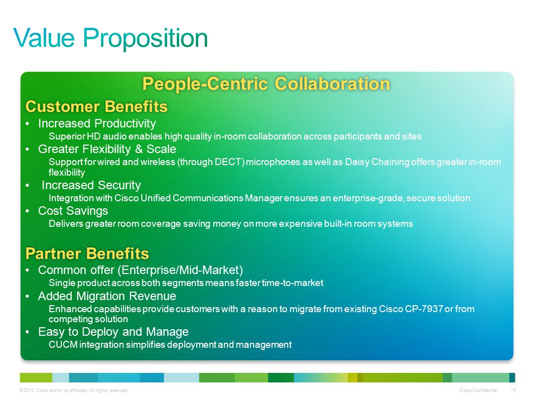 © 2010 Cisco and/or its affiliates. All rights reserved. Cisco Confidential 14 People-Centric CollaborationPeople-Centric Collaboration Customer Benef