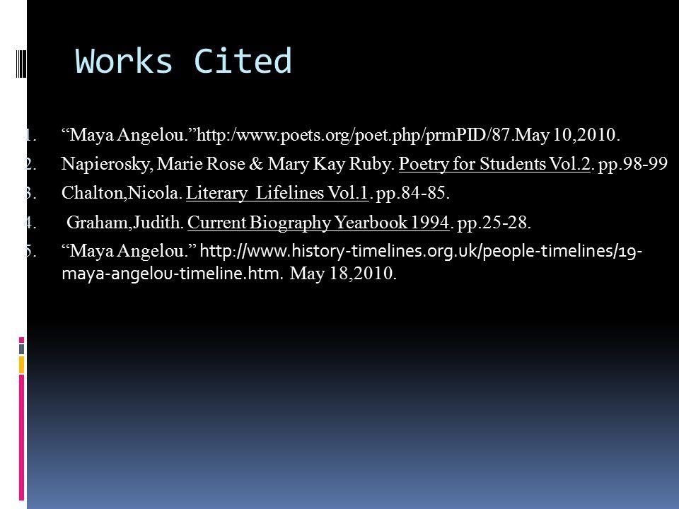 Works Cited 1. Maya Angelou. http:/www.poets.org/poet.php/prmPID/87.May 10,2010.