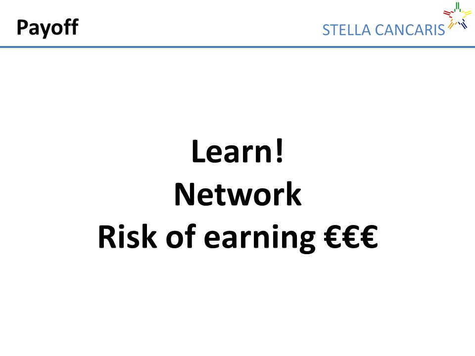 Payoff Learn! Network Risk of earning €€€