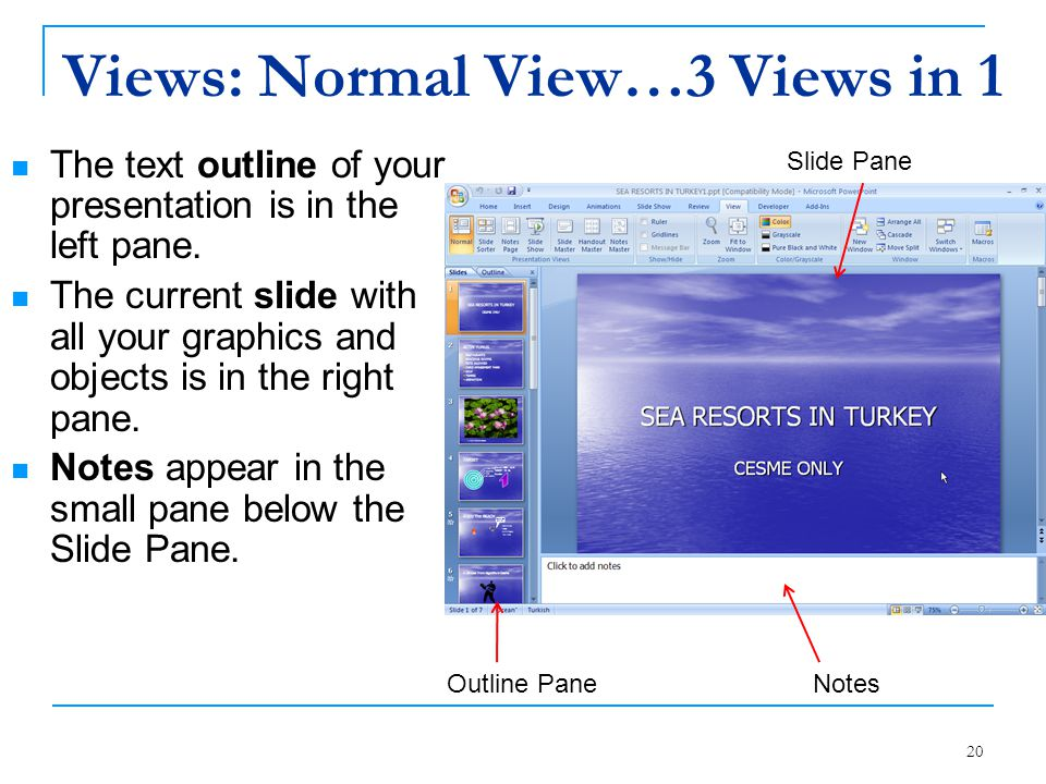 20 Views: Normal View…3 Views in 1 The text outline of your presentation is in the left pane. The current slide with all your graphics and objects is