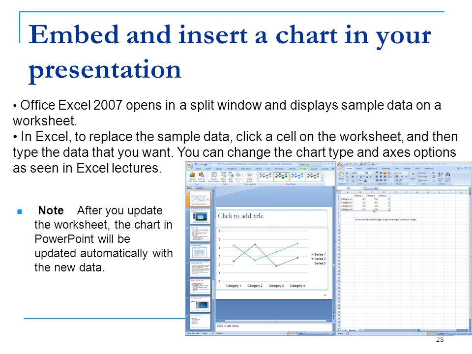 Embed and insert a chart in your presentation 28 Note After you update the worksheet, the chart in PowerPoint will be updated automatically with the n
