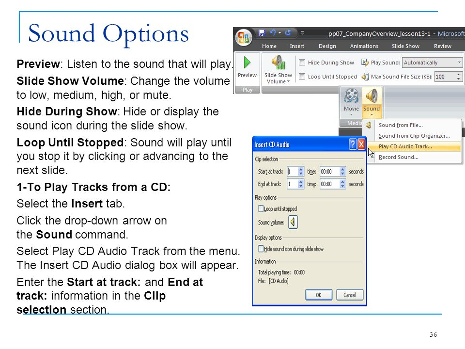 Sound Options Preview: Listen to the sound that will play. Slide Show Volume: Change the volume to low, medium, high, or mute. Hide During Show: Hide