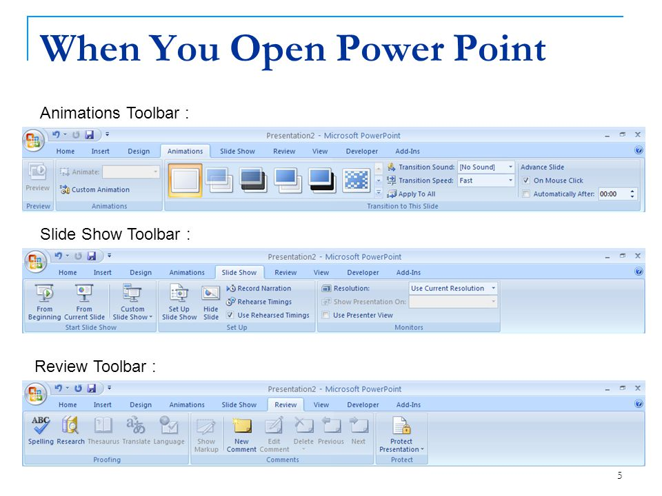 5 When You Open Power Point Review Toolbar : Slide Show Toolbar : Animations Toolbar :