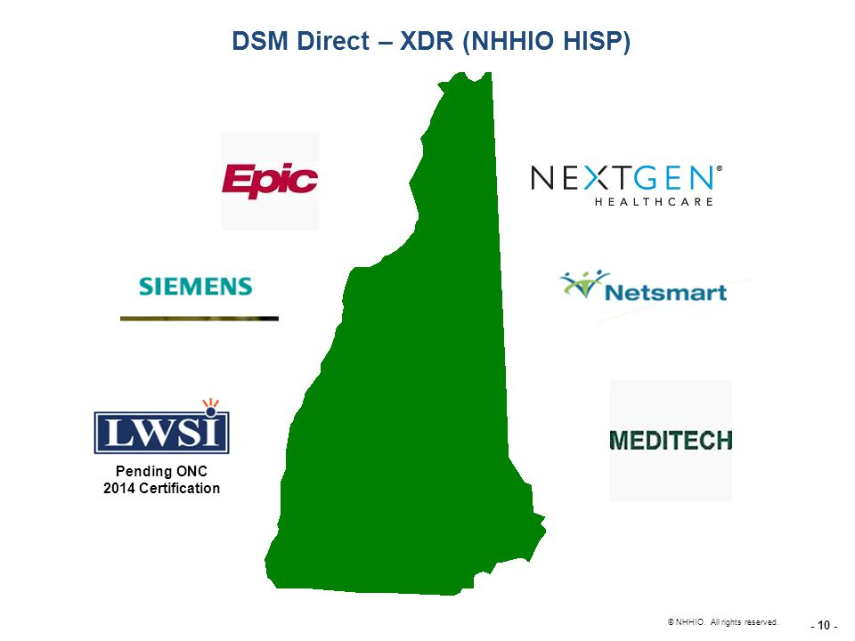 - 10 - New Hampshire Health Information Organization © NHHIO. All rights reserved. DSM Direct – XDR (NHHIO HISP) Pending ONC 2014 Certification